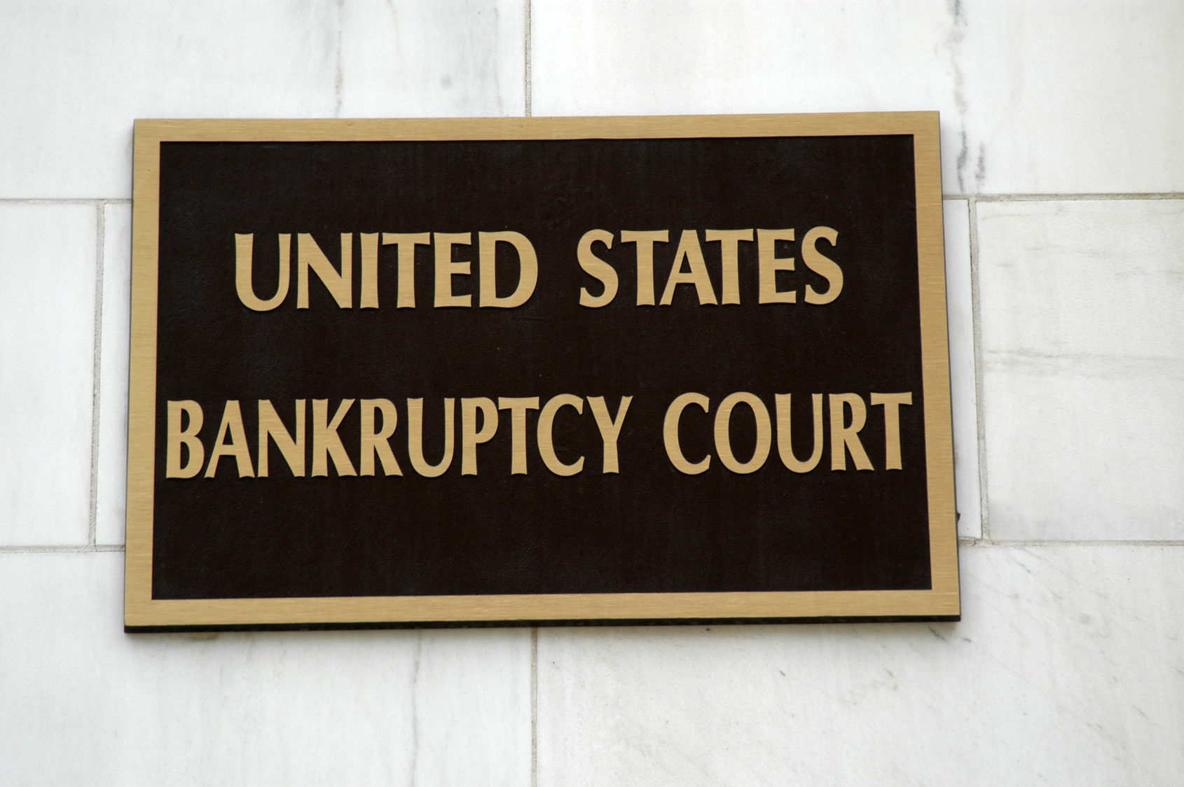 A sign on the bankruptcy courthouse